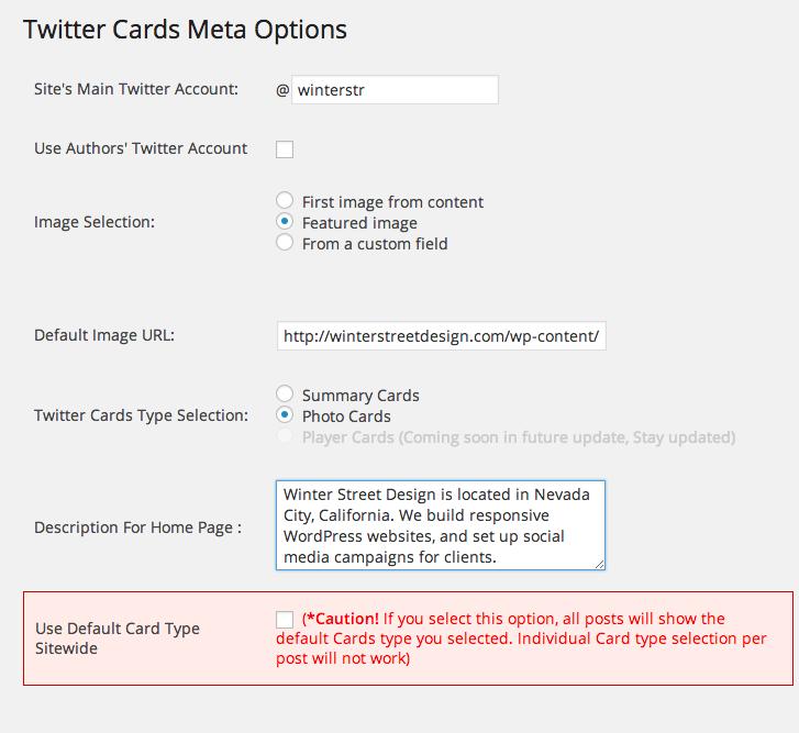 twitter cards meta settings